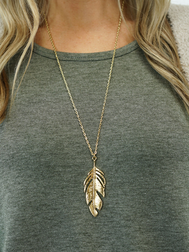 Feather Necklace - Gold