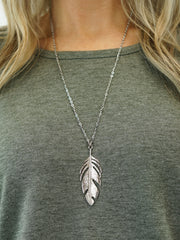 Feather Necklace - Silver