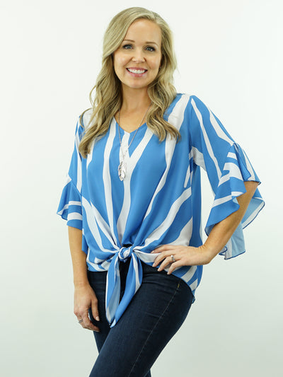 Jessie - 3/4 Sleeve, Cowgirl Tie-Knot Top