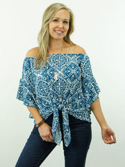 Mary Jane - Turquoise, Off Shoulder/On Shoulder, 3/4 Sleeve, Cowgirl Tie-Knot Top
