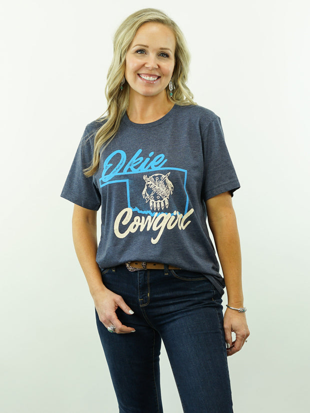 Okie Cowgirl - T-Shirt, Dark Blue Heather