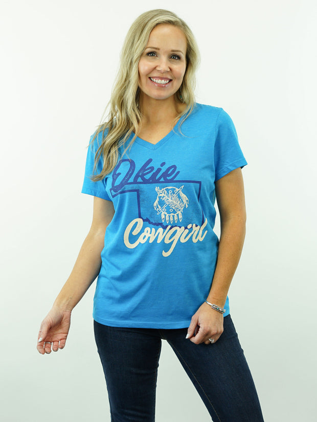 Okie Cowgirl - V-Neck, Women's Cut, T-Shirt - Blue Heather