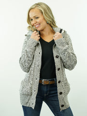 Soft, Grey, Lined, Button Up, Hooded Knit Cardigan