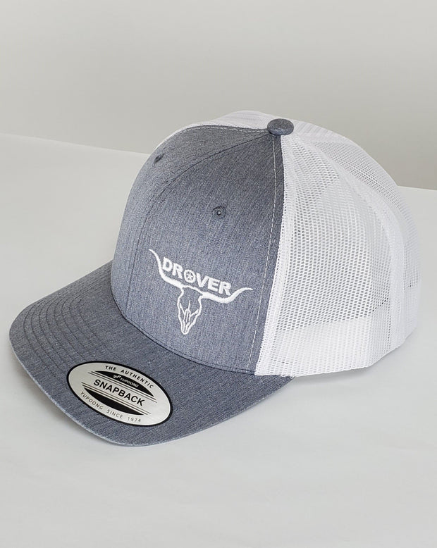 Yupoong, Snapback, Trucker Cap, Heather Grey with White Mesh