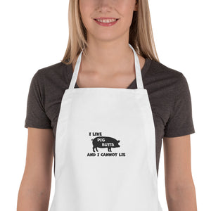I Love Pig Butts Embroidered Apron