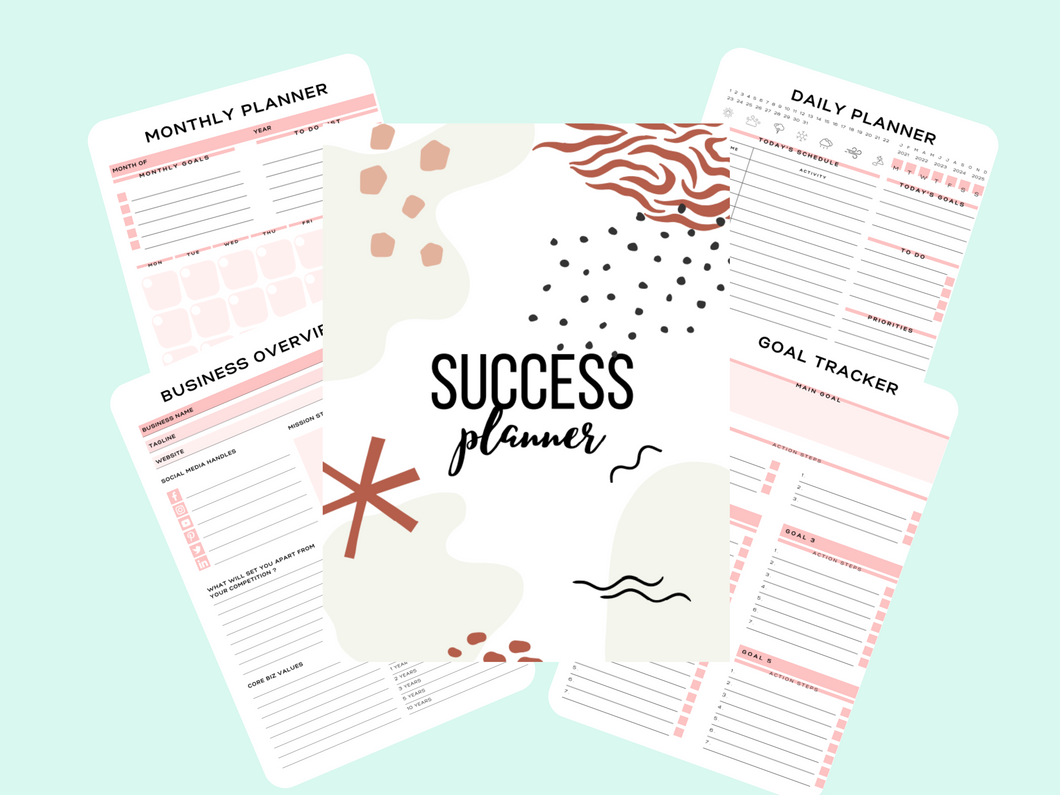 Success/Business Planner - Plan for Success - Printable - Motivational Printables