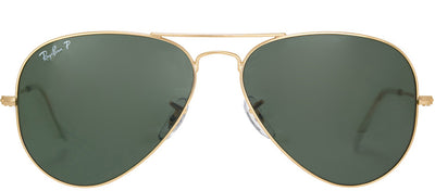 Ray-Ban RB 3025 001/58 Aviator Metal Gold Sunglasses with Green Polarized Lens