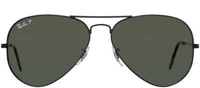 Ray-Ban RB 3025 002/58 Aviator Metal Black Sunglasses with Green Polarized Lens