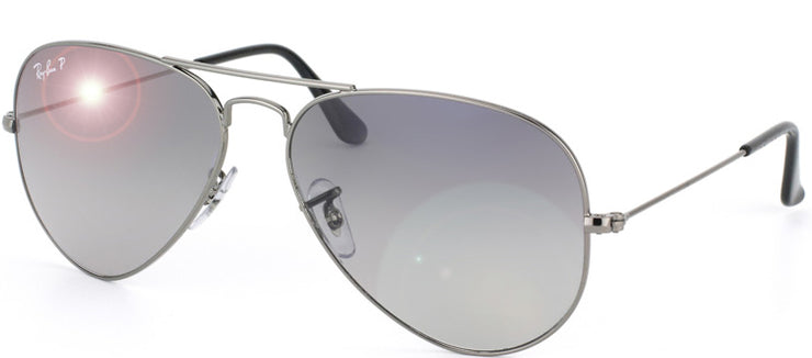 Ray-Ban RB 3025 004/78 Aviator Metal Ruthenium/ Gunmetal Sunglasses with Crystal Blue Grey Gradient Polarized Lens