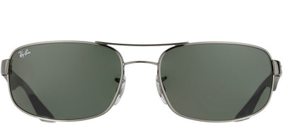 Ray-Ban RB 3445 004 Sport Metal Silver Sunglasses with Green Lens