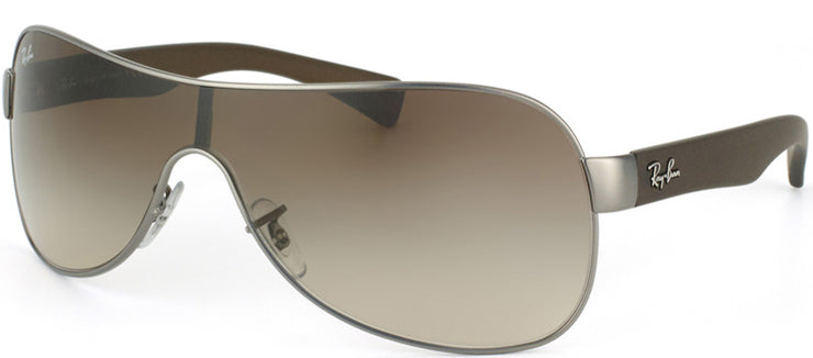 Ray-Ban RB 3471 029/13 Shield Plastic Ruthenium/ Gunmetal Sunglasses with Brown Gradient Lens