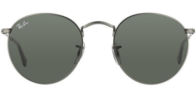 Ray-Ban RB 3447 029 Round Metal Ruthenium/ Gunmetal Sunglasses with Green Lens