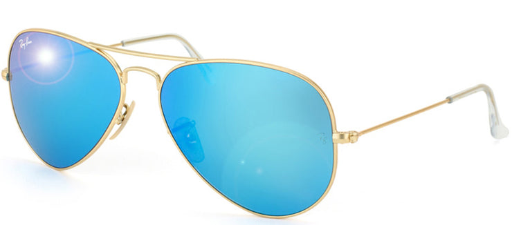 Ray-Ban RB 3025 112/17 Aviator Metal Gold Sunglasses with Blue Mirror Lens
