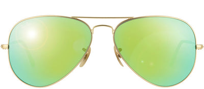 Ray-Ban RB 3025 112/19 Aviator Metal Gold Sunglasses with Green Mirror Lens
