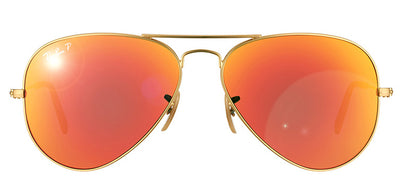 Ray-Ban RB 3025 112/4D Aviator Metal Gold Sunglasses with Red Polarized Lens