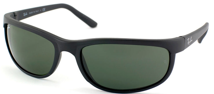 Ray-Ban Predator 2 RB 2027 W1847 Rectangle Plastic Black Sunglasses with Green Lens