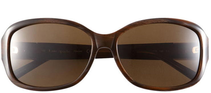 Kate Spade KS Annika 1Q8P Rectangle Plastic Brown Sunglasses with Brown Polarized Lens