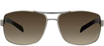 Prada Linea Rossa PS 54IS 5AV6S1 Aviator Metal Ruthenium/ Gunmetal Sunglasses with Brown Gradient Lens