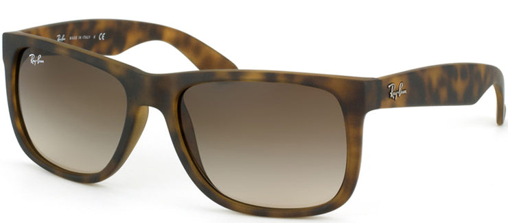 Ray-Ban Justin RB 4165 710/13 Square Rubber Tortoise/ Havana Sunglasses with Grey Gradient Lens