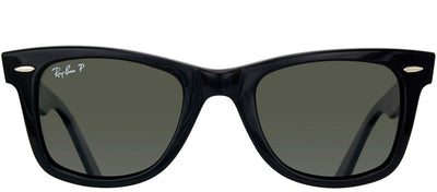 Ray-Ban RB 2140 901/58 Original Wayfarer Plastic Black Sunglasses with Crystal Green Lens