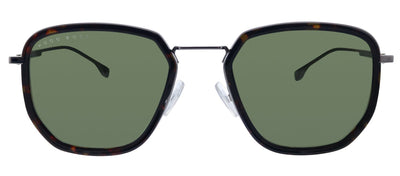 Hugo Boss BOSS 1029/F/S 086 QT Rectangle Plastic Havana Sunglasses with Green Lens