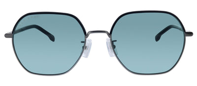 Hugo Boss BOSS 1107/F/S KJ1 Rectangle Metal Ruthenium Sunglasses with Green Lens