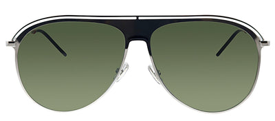Dior CD 0217S KTU Pilot Metal Silver Sunglasses with Green Lens