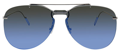 Dior CD 0222S DOH Pilot Metal Silver Sunglasses with Blue Mirror Lens