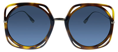 Dior CD Direction DM2 A9 Oval Plastic Havana Sunglasses with Blue Mirror Lens