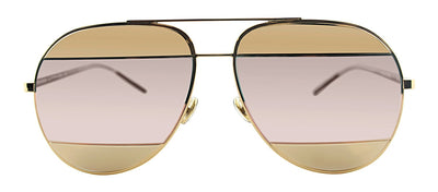 Dior CD Split1 000 OJ Pilot Metal Gold Sunglasses with Pink Mirror Lens