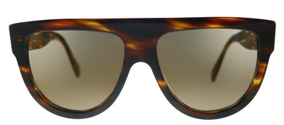 Celine Flat Top CL 4001IN 53G Fashion Plastic Havana Sunglasses with Brown Mirror Lens