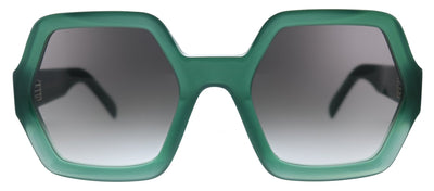 Celine CL 40131I 94B Square Plastic Green Sunglasses with Grey Gradient Lens