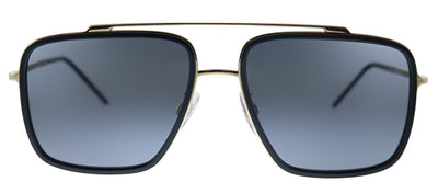 Dolce & Gabbana DG 2220 02/81 Square Metal Gold Black Sunglasses with Brown Gradient Polarized Lens