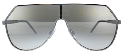 Dolce & Gabbana DG 2221 04/N Aviator Metal GunMetal Sunglasses with Silver Gradient Mirrored Lens