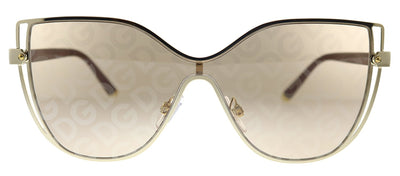 Dolce & Gabbana DG 2236 02/02 Butterfly Metal Gold Sunglasses with Brown Mirror Lens