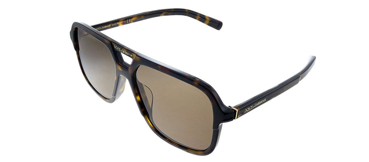 Dolce & Gabbana DG 4354F 502/73 Rectangle Plastic Havana Sunglasses with Brown Lens