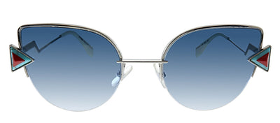 Fendi FF 0242 SCB NE Cat-Eye Metal Silver Sunglasses with Blue Lens