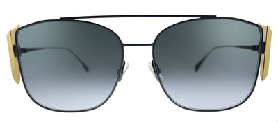 Fendi Freedom FF 0380/G/S/ 807 Square Metal Black Sunglasses with Grey Gradient Lens