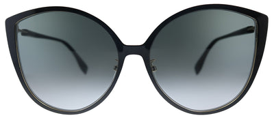 Fendi F is Fendi FF 0395/F/S 2M2 Cat-Eye Metal Black Gold Sunglasses with Grey Gradient Lens