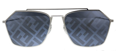 Fendi Men Eyeline FF M0022/S 85L Rectangle Metal Palladium White Sunglasses with Grey Mirror Lens