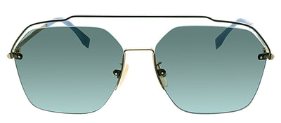 Fendi FF M0032 J5G O7 Square Metal Gold Sunglasses with Green Lens