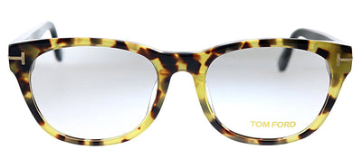 Tom Ford FT 5433F 056 Oval Plastic Tortoise Eyeglasses with Tortoise Plastic Frame And Black Temple