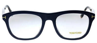Tom Ford FT 5480F 090 Rectangle Plastic Blue Eyeglasses with Blue Plastic Frame And Havana Temple