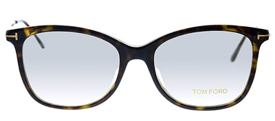 Tom Ford FT 5510F 052 Rectangle Plastic Havana Eyeglasses with Havana Plastic Frame And Gold Metal Temple