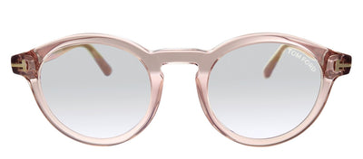 Tom Ford FT 5529-B 072 Round Plastic Transparent Pink Eyeglasses with Blue Block Lens