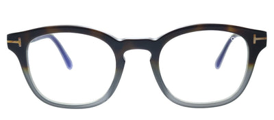 Tom Ford FT 5532-B 55A Square Plastic Havana Eyeglasses with Blue Block With Grey Clip-On Lens