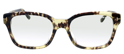 Tom Ford FT 5535FB 056 Rectangle Plastic Havana Eyeglasses with Havana Plastic Frame And Temple