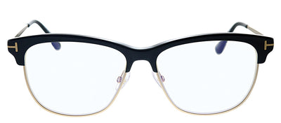 Tom Ford FT 5546B 001 Square Plastic Black Eyeglasses with Black Plastic Frame And Gold Metal Temple