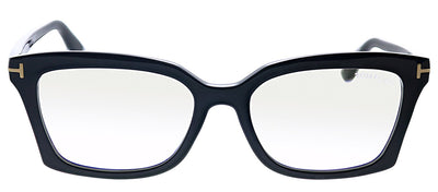 Tom Ford FT 5552B 001 Rectangle Plastic Black Eyeglasses with Black Plastic Frame And Temple
