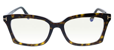 Tom Ford FT 5552B 052 Rectangle Plastic Havana Eyeglasses with Havana Plastic Frame And Temple